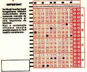 bilet loto 5/40 cu variante simple