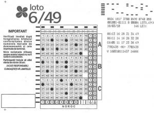 bilet loto 6/49 cu variante simple