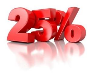 25 procente
